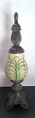 Decorative Finial Mantle Coffee Table Shelf Decor Green Brown Ceramic Resin 18""