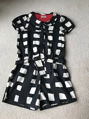 Next Girls Playsuit Black And Cream Age 8