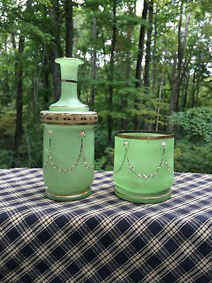Antique Green Glass Vase and Cup ~ Hand Painted