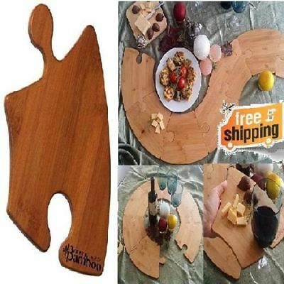Great Bamboo Curved Puzzle Piece Plate Serving Dish Board Wine Glass Holder 4pcs