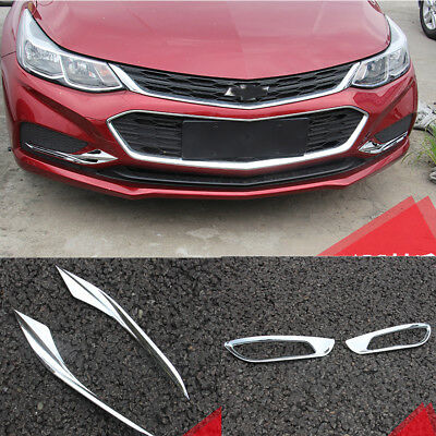 4x Chrome Front +Rear Fog Lights Cover Trim For Chevrolet Cruze 2017 2018