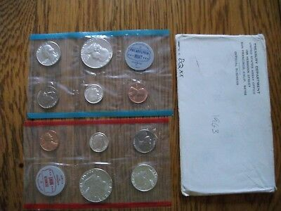 1963 US 10 Coin Silver Mint Set P & D w Original Envelope FREE SHIPPING