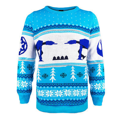 AT-AT Official Star Wars Unisex Blue Christmas Xmas Jumper / Sweater