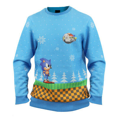 Hedgehog Christmas Sweater.Sonic The Hedgehog Official Green Hill Zone Christmas Xmas Jumper Sweater