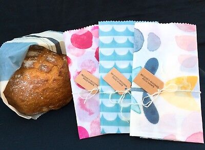 Eco Beeswax XL Food Wrap 40x30cm,Large Choice Of Patterns, Bread Bag Alternative