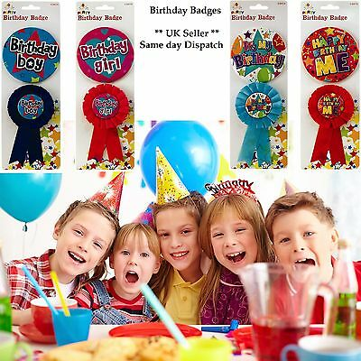 Adult / Children Birthday Boy/ Girl Badge and Rosette 2 Piece Ideal for Parties