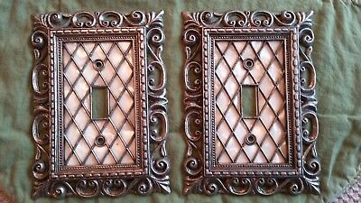 2 Vintage 1968 American Tack Lattice Mother Of Pearl Light Switch Cover Brass