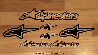 7 Piece Alpinestars Logo Stickers / Decals Set - Different Colours Available