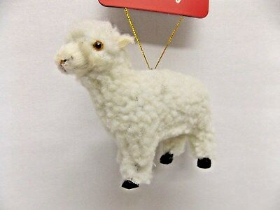 Fuzzy Little White Lamb Soft Material Christmas Tree Ornament 2 1/2 In tall New