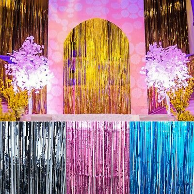 1m Metallic Fringe Curtain Party Foil Tinsel Room Door Wedding Decor Supplies