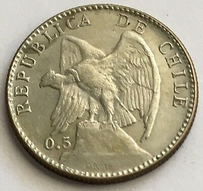 1907 Chile 20 Centavos Silver Coin (L460)