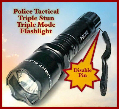 Police Stun Gun w/ DISABLE PIN 990 MV 4.5 Milliamps LED Flashlight Rechargeable