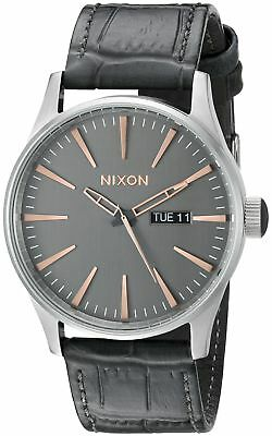 fc694bda873 Nixon Men s A1052145 Sentry Leather Analog Display Japanese Quartz Grey  Watch