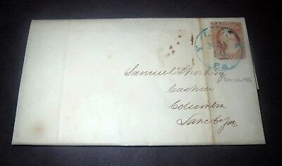 Circa 1856 Document LETTER & ENVELOPE -  With RARE WASHINGTON US 3 CENT STAMP