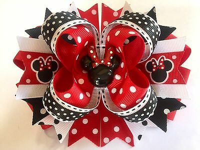 "MINNIE MOUSE Handmade Boutique Stacked Hair Bow W5.0"" x L4.5"" x H2.0"""