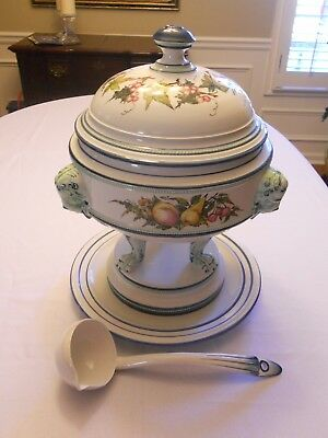 Vintage Italian Porcelain Soup Tureen and Underplate Hand Painted Italy Large