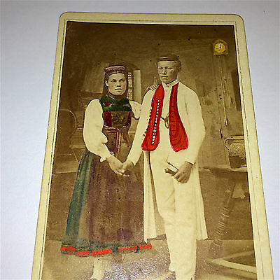 Antique Victorian Swabian German Hand-Tinted Couple, Smoking Pipe Old CDV Photo!