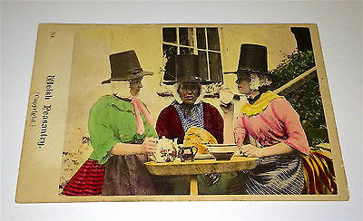 Antique Victorian Hand-Tinted Welsh Peasantry, Easting! Old Costume CDV Photo!