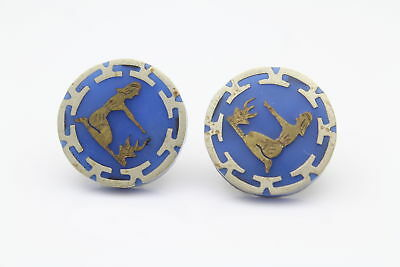 Vintage Egyptian Revival Blue Button Earrings With Screw Backs in Silver Tone