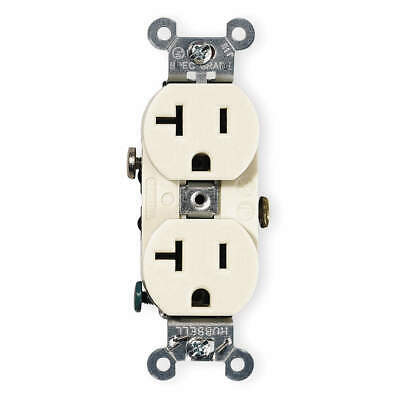HUBBELL WIRING DEVICE-KELLEM Nylon Receptacle,Duplex,20A,5-20R,125V,Ivory, CR20I