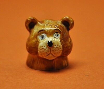 Rare 1980 Spoontiques Teddy Bear Hand Painted Pewter Thimble
