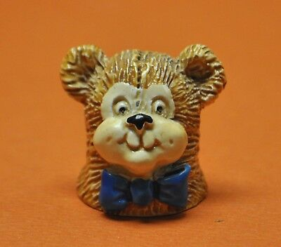 Rare 1982 Spoontiques Teddy Bear Hand Painted Pewter Thimble