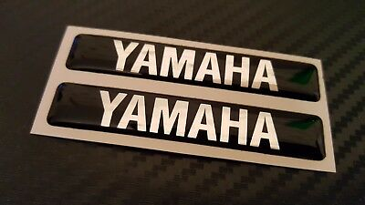 qty 2  Resin Domed Decals Stickers for YAMAHA   BLACK / SILVER DESIGN