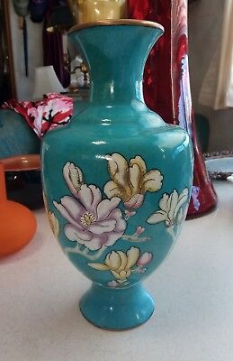 Antique Chinese Enamel Over Copper Turquoise Floral Vase