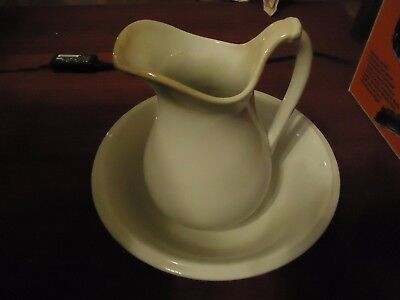 Antique Goodwin Bro Ironstone Water Pitcher & Wash Bowl Basin Vanity Ladies Room