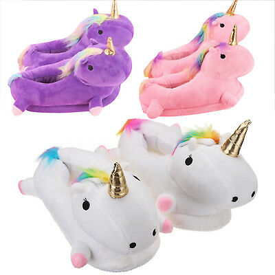 Winter Women Soft Plush Unicorn Slippers Fluffy Warmer Shoes Neu