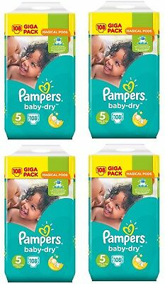Pampers Baby Dry Lot de 432 Couches Taille 5 Junior de 11 à 23kg Giga Pack