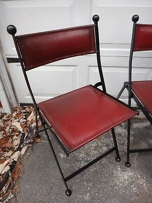 Antique Set of 4 Metal Folding Chairs Leather Seat & Back Very Good Quality '30s