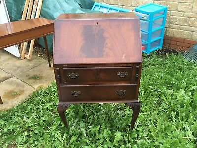 Writing desk/Bureau reproduction with leather drop down desk and drawers