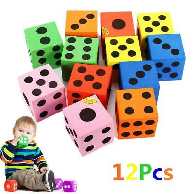 12pcs Colorful Foam Dices Kids Party Family Game Beach Soft Toys Novelty N7