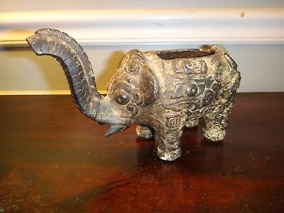 "9"" Antique Chinese Elephant Cast Iron Figurine Planter Very Ornate w High Relief"