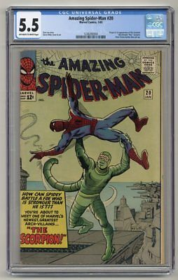 Amazing Spider-Man #20 ~ CGC 5.5 ~ OW/W Pages ~ 1st App of Scorpion ~ Marvel