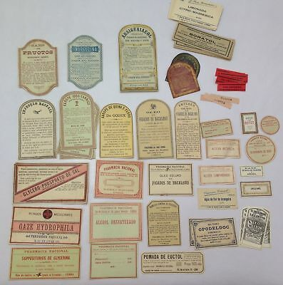 Antique Collectible Lot Label Tag Labels Pharmacy Medicines