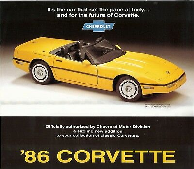 Franklin Mint 1:24 1986 Corvette Convertible Brochure