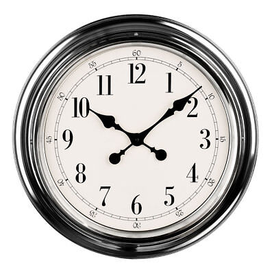 Premier Housewares Modern Wall Clock, Chrome Finish, Large Numbers