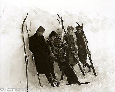Vintage Skiers Antique Skiing Fashion Ski Clothing Old Skis Big Snow 1928 GREAT