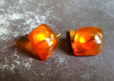FAB VINTAGE Russian Baltic Amber Modernist Cufflinks 24K Gold Sterling MCM Retro