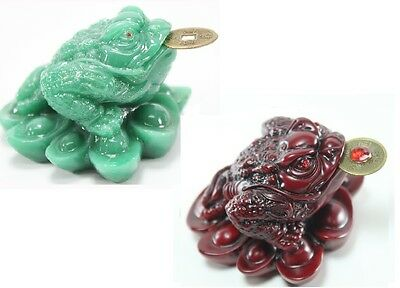1 Red 1 Green Fortune Toad Money Coin Frog Feng Shui Chinese Charm of prosperity