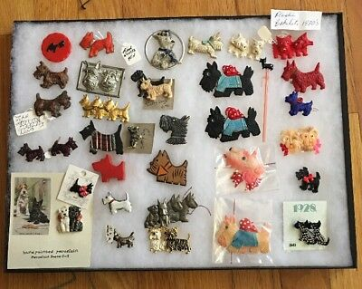 Vintage 1930s & Up Scotty Scottie Dog  Pin Collection Lot Of 33 Some Very Rares