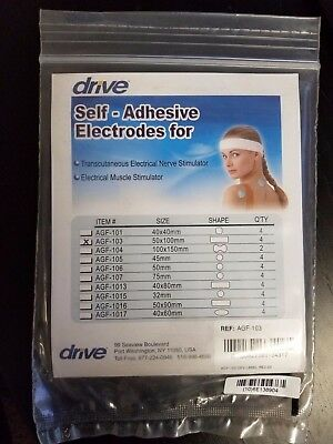"Drive Medical AGF-103 Pre Gelled Electrodes for TENS Unit, Rectangular, 2""x4.15"""