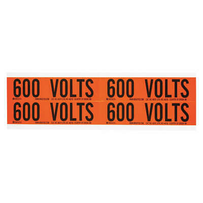 BRADY Voltage Card,4 Markers,600 Volts, 44218