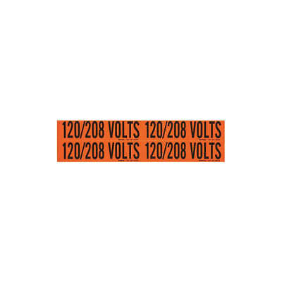BRADY Voltage Card,4 Markers,120/208 Volts, 44259