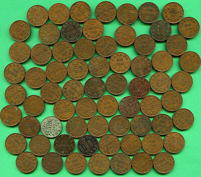 69 Piece Lot Canadian One Cent George V Canada 1 Cent Copper Coin Mixed Date