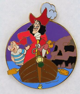 Disney Auctions LE 250 Pin Peter Pan Captain Hook Mr Smee Boat Skull Rock