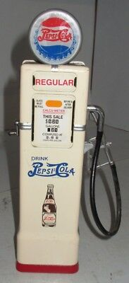 Pepsi Gas Pump Advertising Golden Wheel Bank w/ Key Red White Blue Cola Fuel