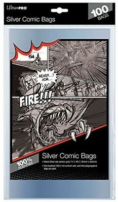100 x Ultra Pro Silver Age Size Bags Clear Comic Book Protection Storage Sleeves